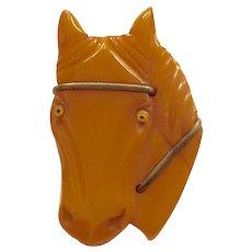1930s Art Deco Butterscotch Bakelite HORSE Pin Brooch