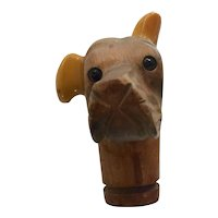 1930s Carved Bakelite and Wood DOG HEAD Cane Umbrella Handle