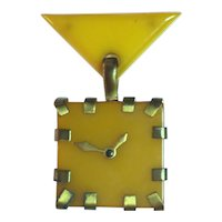 1930s Art Deco Butterscotch Brass MODERN Clock Brooch Pin