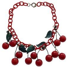 1930s Art Deco Red Bakelite Cherries Necklace