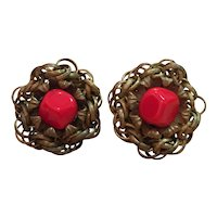 Miriam Haskell Brass Flower Form and Brilliant Red Stone Clip Screw Earrings