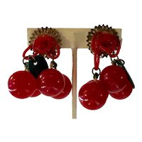RARE 1930s Red Bakelite Cherries DROP Clip Earrings