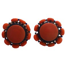 Jonne'  Miriam Haskell style Brilliant Orange Cobalt Blue Class Clip Earrings