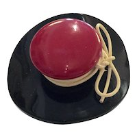 1930s Art Deco Red Black Figural Bakelite Hat Brooch Pin