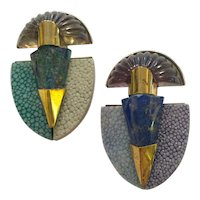 Pair 1990s FABRICE Art Deco Revival Resin Brass and Shagreen Brooch PIN Twosome