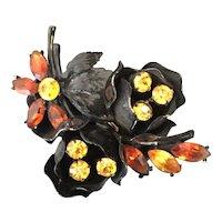 CORO Japanned Metal Amber Orange Flower Pin  Brooch