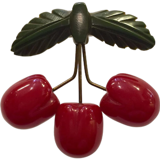1930s Art Deco Red Bakelite RARE Figural Cherries Pin Brooch