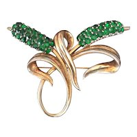PENNINO Green Floral Brooch Pin in Goldplated White Metal