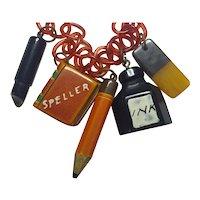 1930s Art Deco Figural Bakelite SCHOOL DAYS Necklace