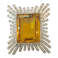 Magnificent TRIFARI Emerald Cute Huge Amber Center Stone with Baguette Diamante Framework BURST Pin Brooch