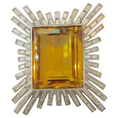 Magnificent TRIFARI Emerald Cute Huge Amber Center Stone with Baguette Diamante Framework BURST Pin Brooch