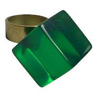 Louis  Velasquez Emerald Green LUCITE Cube Brass Shank Statement Ring Size 6-6.5