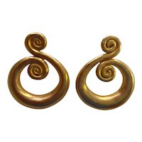1980s KJL Etruscan Inspired Goldtone Coiled Snake Style Large Clip Drop Earrings