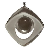 1980s Acrylic Modernist Ball and Rounded Square Lucite Pendant Necklace