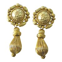 Oscar de la Renta Goldtone Drop Clip Earrings