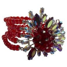 Magnificent Schiaparelli Faux Ruby Multistrand Huge Clasp Borealis Crystal Bracelet