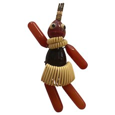 Very RARE 1930s Art Deco Bakelite and Celluloid MARTHA SLEEPER 'Josephine Baker' Figural Articulated Brooch/Pin