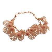 1940s Pink Cellulose Chain Necklace with Large Pink Filigree Cellulose Flowers Bells Beads