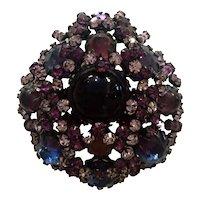 SCHREINER Faux Amethyst Sapphire and Lilac Rhinestone Crystal Brooch Pin