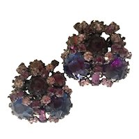 SCHREINER Faux Amethyst Sapphire and Lilac Rhinestone Crystal Clip Earrings