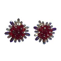Magnificent Schiaparelli Faux Ruby Borealis Crystal Clip Earrings