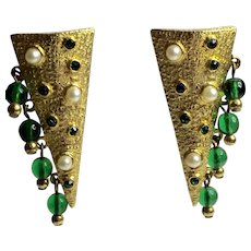 Hobe Goldtone Elongated Triangular Clip On Earrings with Faux Emerald Crystal Bead Droplets