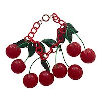 1930s Art Deco Red Bakelite Cherries Bracelet