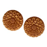 1930s Art Deco Dark Cream Bakelite Carved Floral Blossom Dress Clips Brooch Pin Earrings!