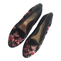 Alexander McQueen Black Velvet and Floral Embroidered Ballet Flats Shoes Size 37