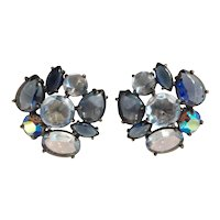 Schiaparelli Large  Pale Blue Cabochon and Crystal Clip Earrings
