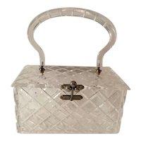 1950s CHARLES KAHN Cross Hatched Carved Clear Acrylic Lucite Hard Body Plastic Purse Handbag
