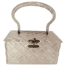 1950s CHARLES KAHN Cross Hatched Carved Clear Acrylic Lucite Hard Body Plastic Purse Handbag