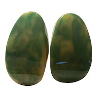 1930s Marbelized Faux Jade Green Mottled Oval Omega Back Pierced Clip Earrings