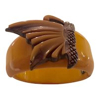 1930s Art Deco Butterscotch Bakelite Hinged Bracelet Wood and Bakelite Laminated Butterfly