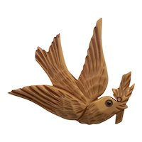 1930s Art Deco Cream Carved Bakelite Dove of Peace Bird Brooch Pin