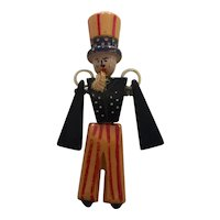 1930s Patriotic Red Cream and Blue Bakelite Figural Articulated Uncle Sam Brooch Pin