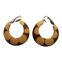 Bakelite Brown and Cream Random Dot Clip Hoop style Earrings