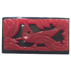 1930s Art Deco Red and Black Bakelite Silhouetted Bird Laminated Brooch Pin