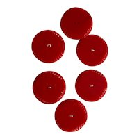 Set of SIX (6) HUGE Bright Red Art Deco Bakelite Buttons