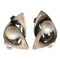 Esther Lewittes Sterling Silver Pearl Mid Century Studio Modern Clip Earrings