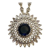 Special TRIFARI Rhodium and Faux Diamante and Sapphire Burst Pendant Necklace