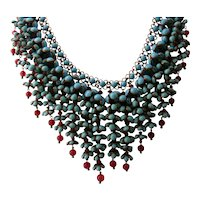 Rare Early CHANEL Gripoix Turquoise Fuschia Bellflowers Museum Quality IMPORTANT Necklace