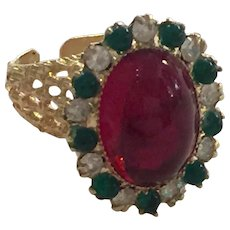 William DeLillo 1960s Goldtone Faux Ruby Emerald and Diamante Cocktail Dinner Ring Expandable