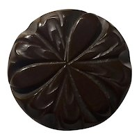 1930s Raisin Brown Heavy Carved Thick Bakelite Sew-on Coat Button