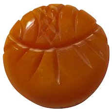 1930s Art Deco Chunky Carved Tangerine Butterscotch Bakelite Sew On Coat Button