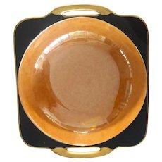 1920s Art Deco Japanese Lusterware NORITAKE Porcelain Streamlined BLACK Handled Vegetable Bowl..