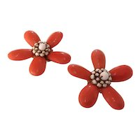 1960s William DeLillo Magnificent Coral Teardrop Starburst Style Pierced Earrings