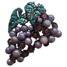THELMA DEUTSCH Grape Cluster Brooch Pin Borealis Aqua and Pale Purple