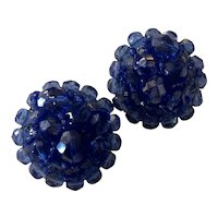 Coppolla Toppo Brilliant Cobalt Blue Woven and Assembled Plastic/Glass Circular Clip Earrings.