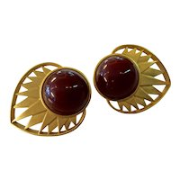 Yves Saint Laurent YSL Matte Goldtone Brown Cabochon Stone Lever Back Earrings